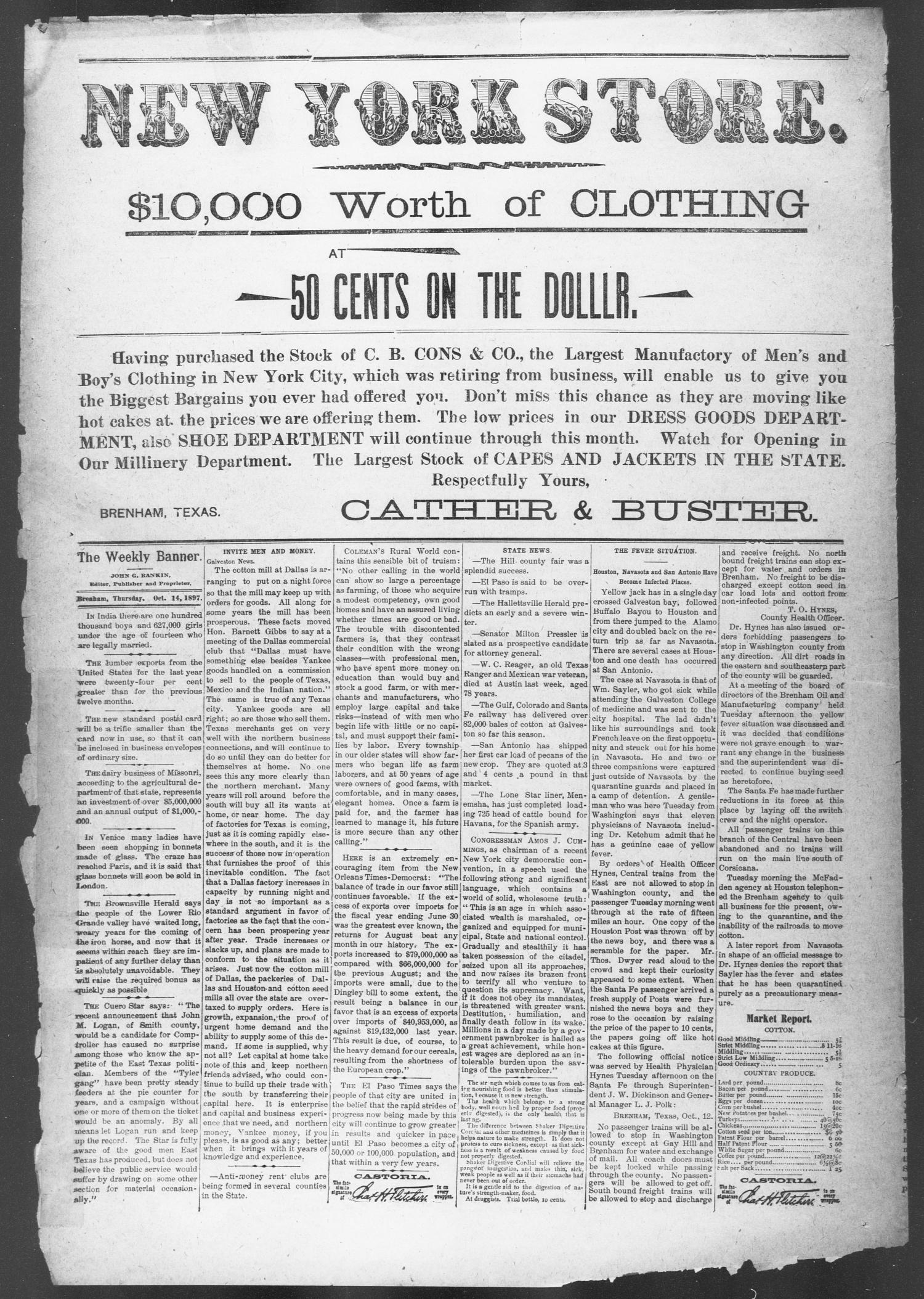 Brenham Weekly Banner. (Brenham, Tex.), Vol. 31, No. 45, Ed. 1, Thursday, October 14, 1897                                                                                                      [Sequence #]: 6 of 10