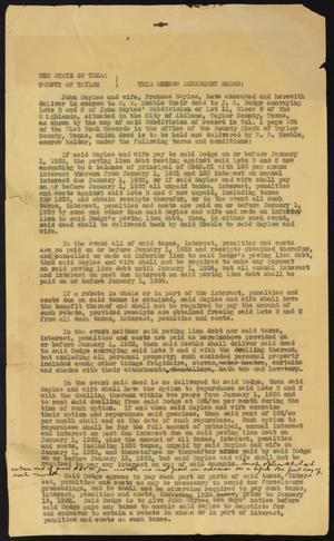 Primary view of object titled '[Escrow Agreement Draft between John and Frances Sayles and J. G. Dodge]'.