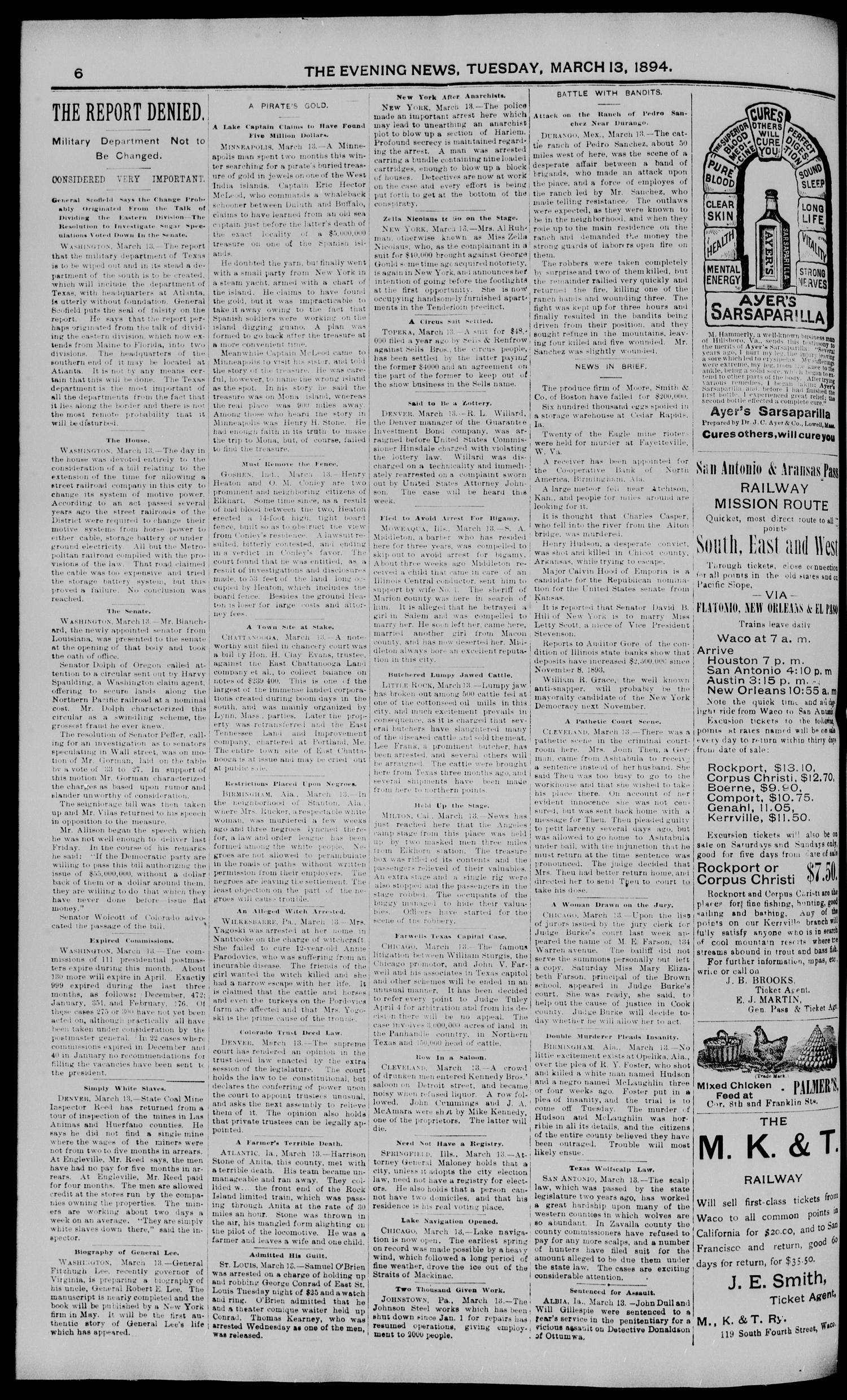 The Waco Evening News. (Waco, Tex.), Vol. 6, No. 205, Ed. 1, Tuesday, March 13, 1894                                                                                                      [Sequence #]: 6 of 8