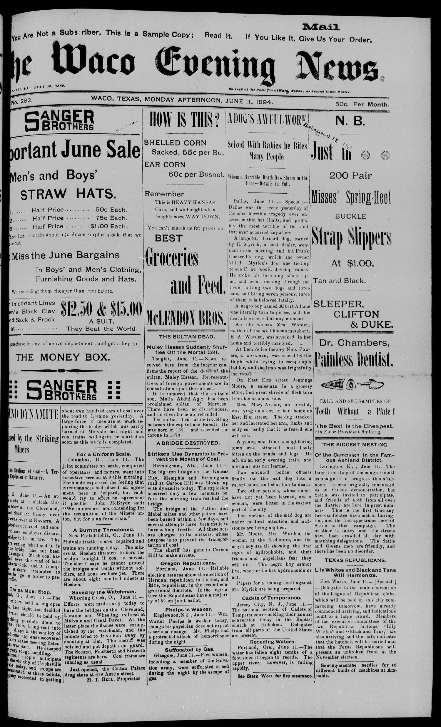 The Waco Evening News. (Waco, Tex.), Vol. 6, No. 282, Ed. 1, Monday, June 11, 1894                                                                                                      [Sequence #]: 1 of 8