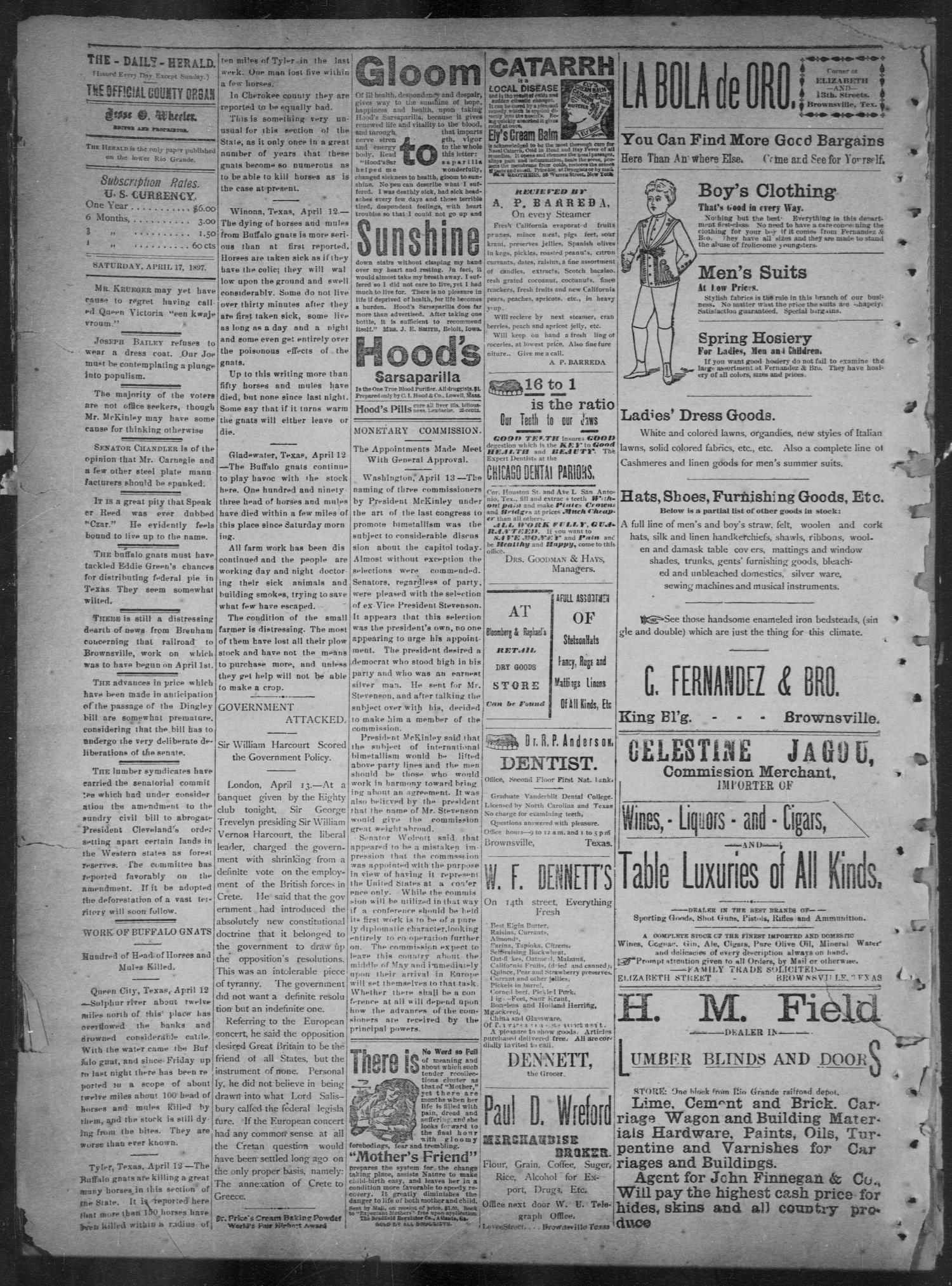 The Daily Herald (Brownsville, Tex.), Vol. 5, No. 211, Ed. 1, Saturday, April 17, 1897                                                                                                      [Sequence #]: 2 of 4