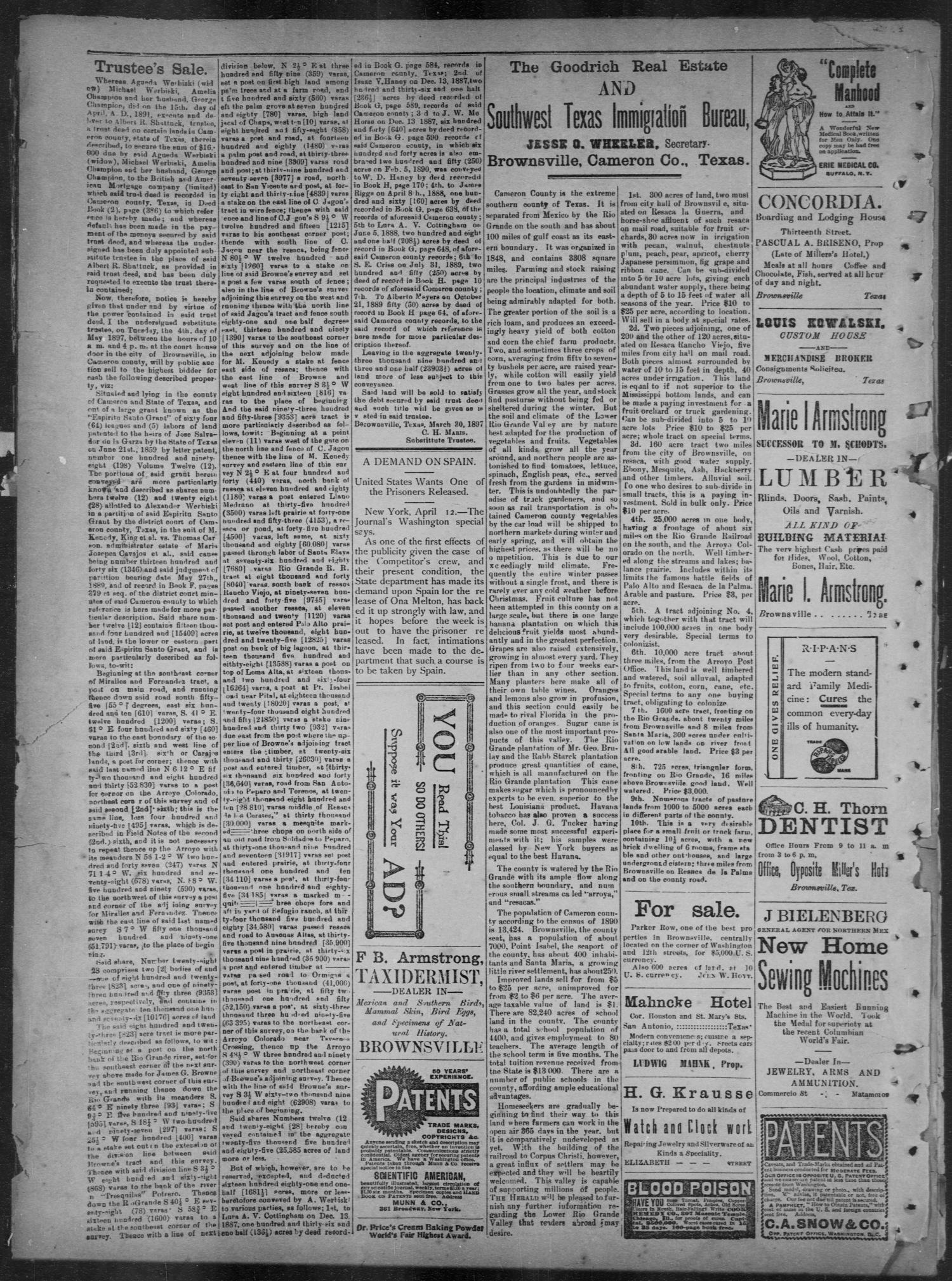 The Daily Herald (Brownsville, Tex.), Vol. 5, No. 211, Ed. 1, Saturday, April 17, 1897                                                                                                      [Sequence #]: 4 of 4