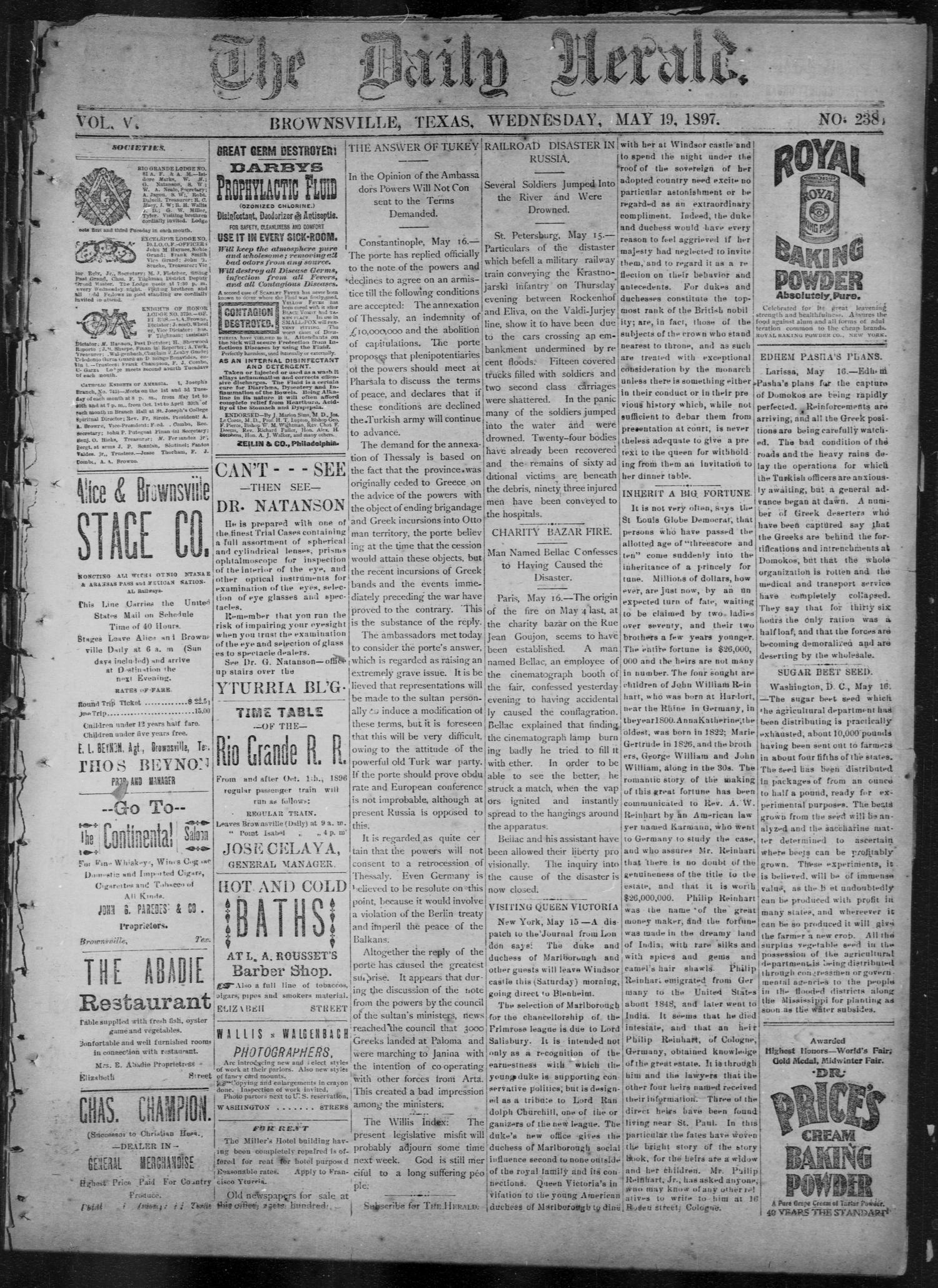 The Daily Herald (Brownsville, Tex.), Vol. 5, No. 238, Ed. 1, Wednesday, May 19, 1897                                                                                                      [Sequence #]: 1 of 4