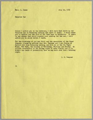 Primary view of object titled '[Letter from I. H. Kempner to Thomas L. James, July 23, 1955]'.