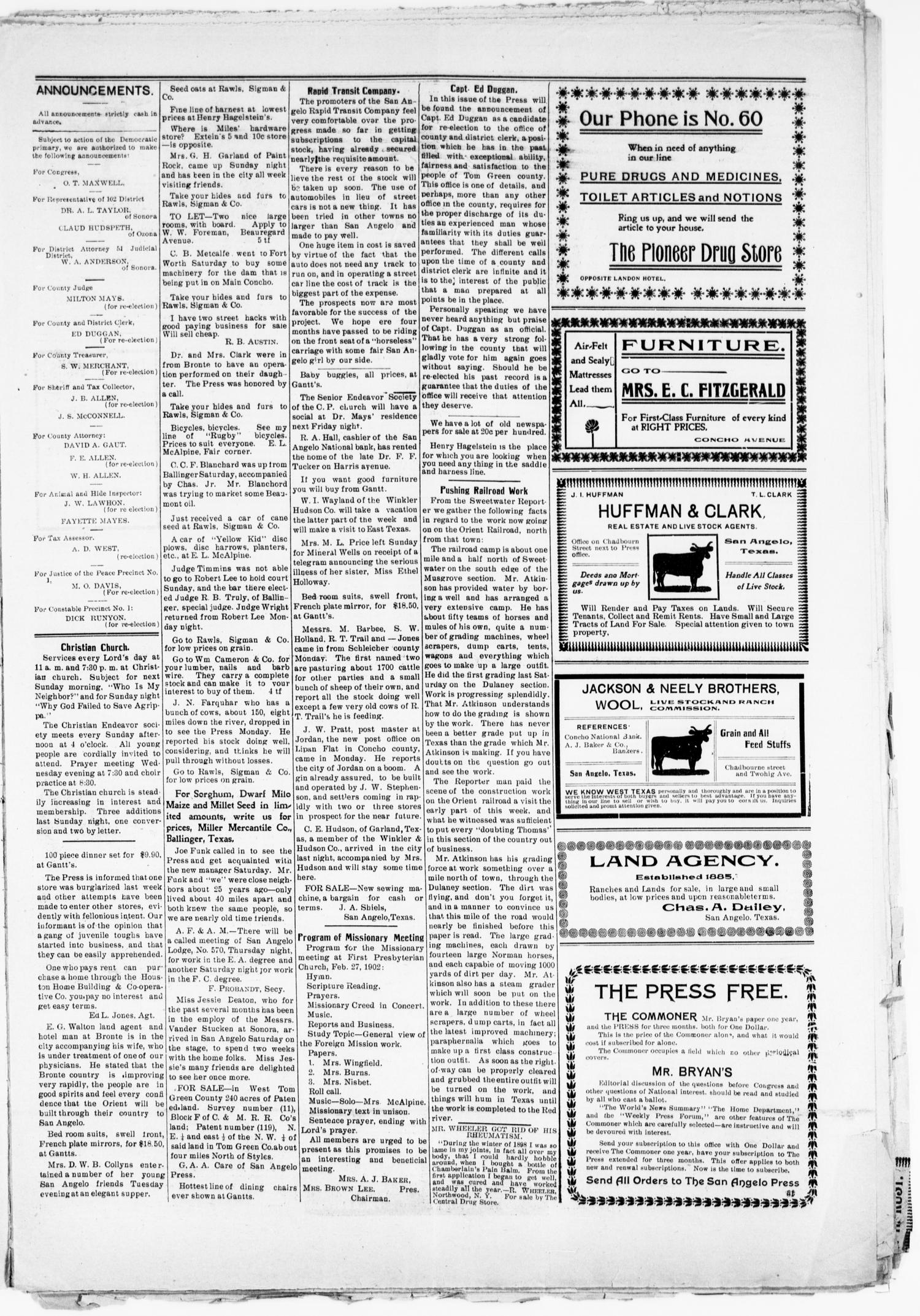 The San Angelo Press. (San Angelo, Tex.), Vol. 6, No. 7, Ed. 1, Wednesday, February 19, 1902                                                                                                      [Sequence #]: 3 of 8