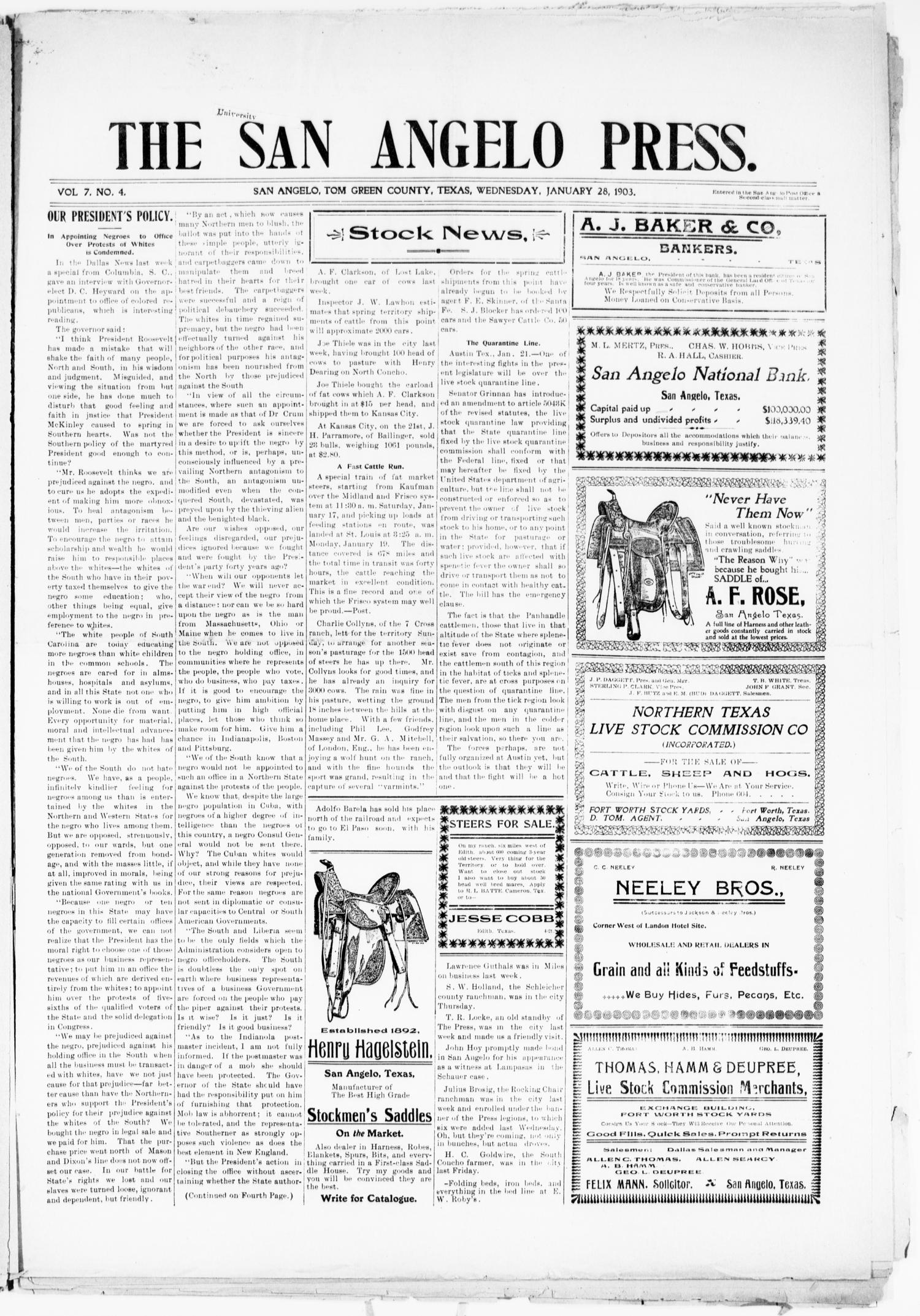 The San Angelo Press. (San Angelo, Tex.), Vol. 7, No. 4, Ed. 1, Wednesday, January 28, 1903                                                                                                      [Sequence #]: 1 of 8