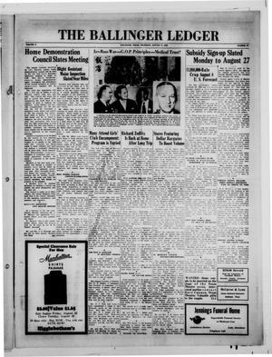Primary view of The Ballinger Ledger (Ballinger, Tex.), Vol. 57, No. 44, Ed. 1 Thursday, August 11, 1938