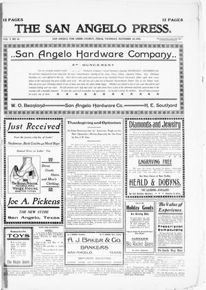 Primary view of object titled 'The San Angelo Press. (San Angelo, Tex.), Vol. 9, No. 48, Ed. 1, Thursday, November 30, 1905'.