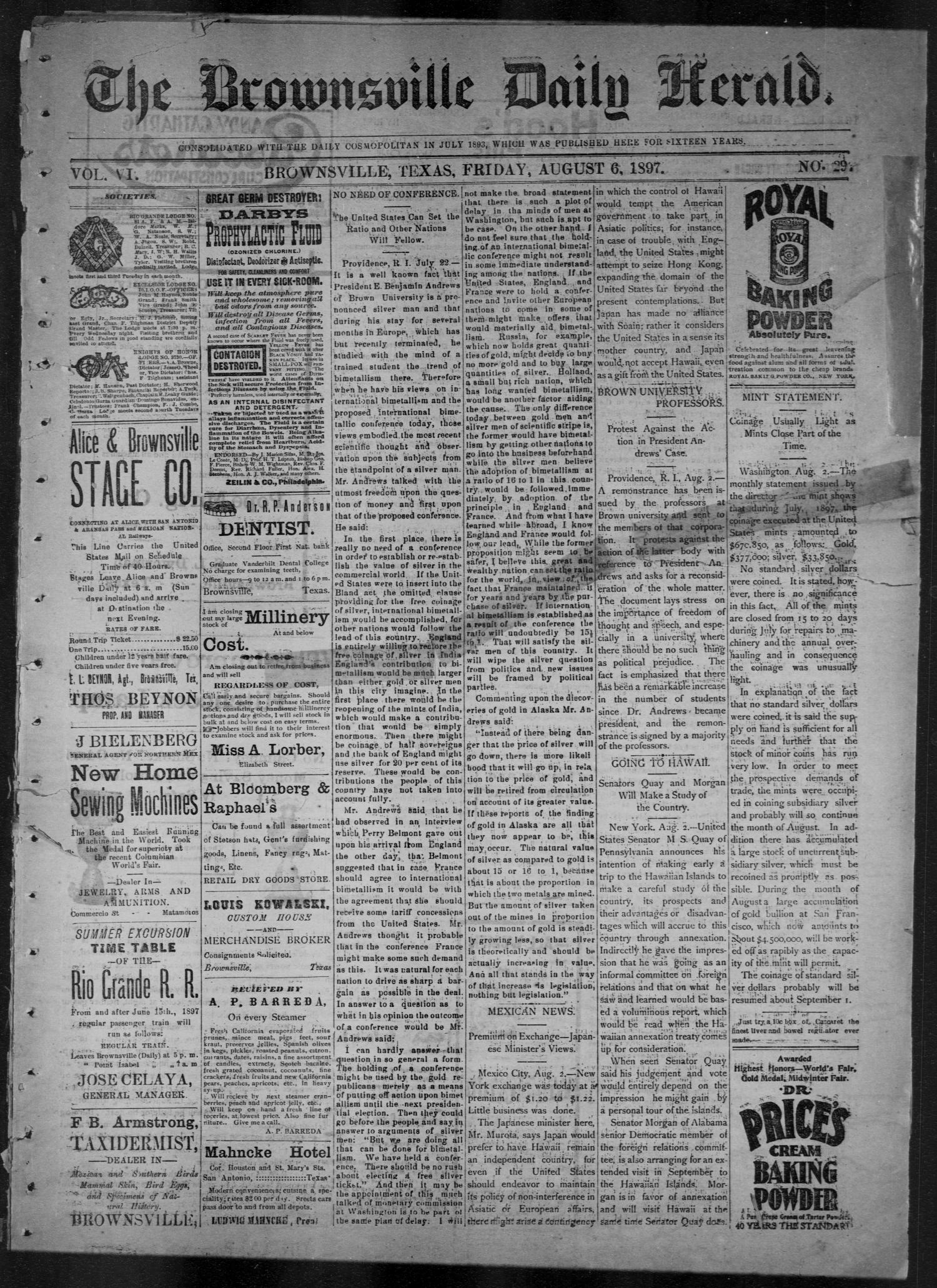 The Brownsville Daily Herald. (Brownsville, Tex.), Vol. 6, No. 29, Ed. 1, Friday, August 6, 1897                                                                                                      [Sequence #]: 1 of 4