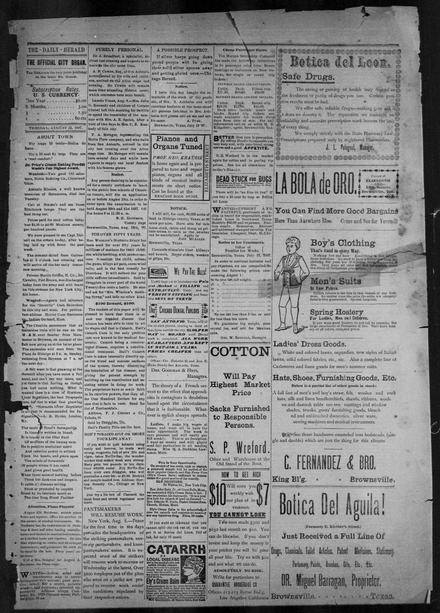 The Brownsville Daily Herald. (Brownsville, Tex.), Vol. 6, No. 34, Ed. 1, Thursday, August 12, 1897                                                                                                      [Sequence #]: 1 of 4