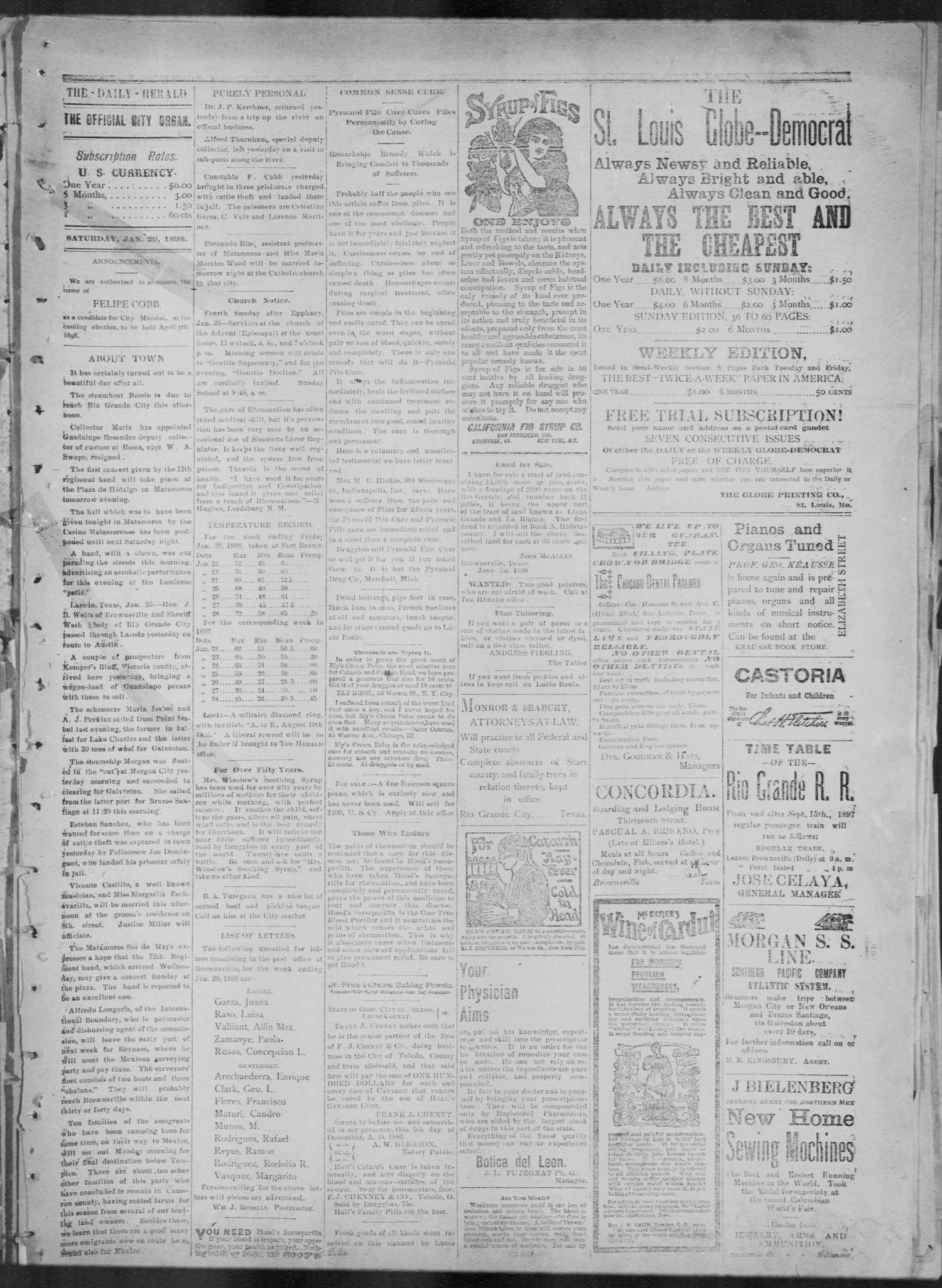 The Brownsville Daily Herald. (Brownsville, Tex.), Vol. 6, No. 179, Ed. 1, Saturday, January 29, 1898                                                                                                      [Sequence #]: 2 of 4