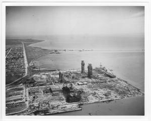 Primary view of object titled '[An aerial view of the port area after the 1947 Texas City Disaster]'.