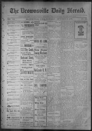 Primary view of object titled 'The Brownsville Daily Herald. (Brownsville, Tex.), Vol. 7, No. 53, Ed. 1, Saturday, September 3, 1898'.