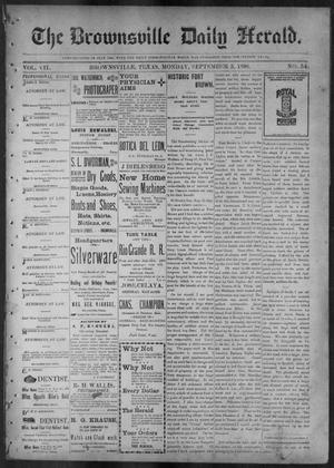 Primary view of object titled 'The Brownsville Daily Herald. (Brownsville, Tex.), Vol. 7, No. 54, Ed. 1, Monday, September 5, 1898'.