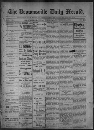 Primary view of object titled 'The Brownsville Daily Herald. (Brownsville, Tex.), Vol. 7, No. 116, Ed. 1, Thursday, November 3, 1898'.