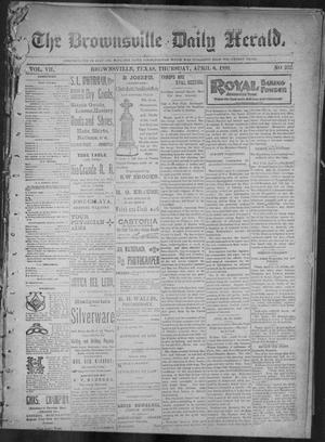 Primary view of object titled 'The Brownsville Daily Herald. (Brownsville, Tex.), Vol. 7, No. 252, Ed. 1, Thursday, April 6, 1899'.