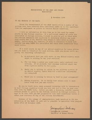 Primary view of object titled '[Letter from Jacqueline Cochran to the Women Airforce Service Pilots, November 3, 1944]'.