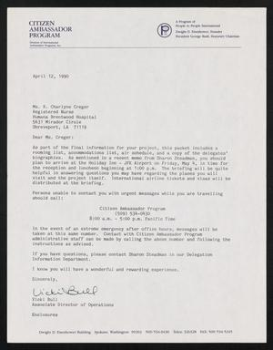 Primary view of object titled '[Letter from Vicki Bull to Charlyne Creger, April 12, 1990]'.