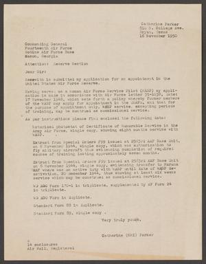 Primary view of object titled '[Letter from Catherine Parker, November 16, 1950]'.
