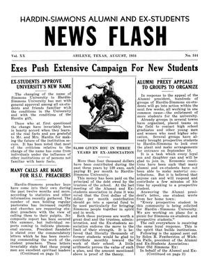 Hardin-Simmons Alumni and Ex-Students News Flash, August, 1934