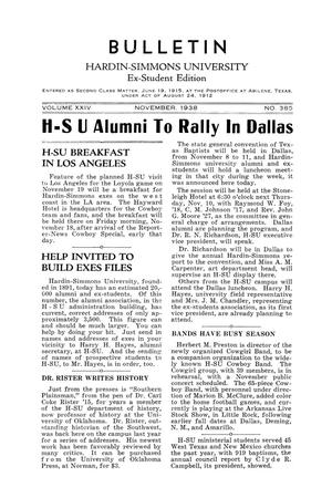 Bulletin: Hardin Simmons University, Ex-Student Edition, November, 1938