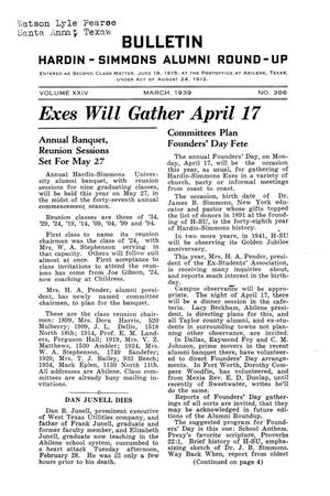 Primary view of object titled 'Bulletin: Hardin-Simmons Alumni Round-up, March, 1939'.