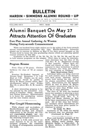 Primary view of object titled 'Bulletin: Hardin-Simmons Alumni Round-up, May, 1939'.