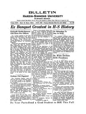 Primary view of object titled 'Bulletin: Hardin-Simmons Ex-Student Roundup, July, 1940'.