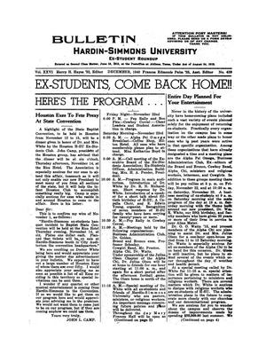 Primary view of object titled 'Bulletin: Hardin-Simmons Ex-Student Roundup, December, 1940'.