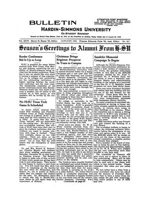 Primary view of object titled 'Bulletin: Hardin-Simmons Ex-Student Roundup, January, 1941'.