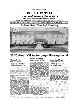 Primary view of object titled 'Bulletin: Hardin-Simmons Ex-Student Roundup, August, 1941'.