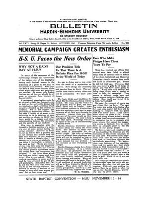 Primary view of object titled 'Bulletin: Hardin-Simmons Ex-Student Roundup, October, 1941'.