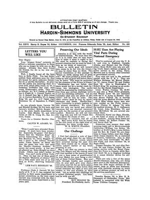 Primary view of object titled 'Bulletin: Hardin-Simmons Ex-Student Roundup, December, 1941'.