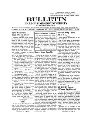 Primary view of object titled 'Bulletin: Hardin-Simmons Ex-Student Roundup, February, 1942'.