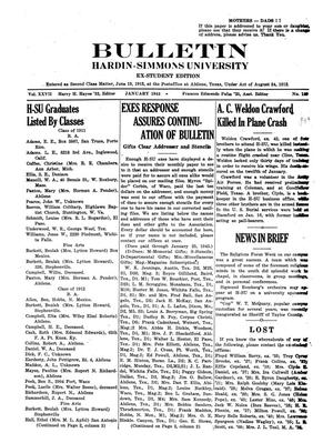Bulletin: Hardin-Simmons University, Ex-Student Edition, January 1943