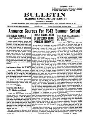 Primary view of object titled 'Bulletin: Hardin-Simmons University, Ex-Student Edition, March, 1943'.