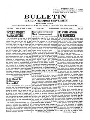 Primary view of object titled 'Bulletin: Hardin-Simmons University, Ex-Student Edition, June, 1943'.