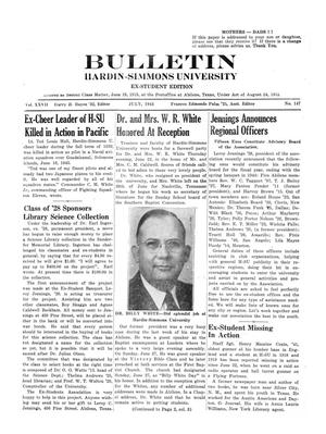 Primary view of object titled 'Bulletin: Hardin-Simmons University, Ex-Student Edition, July, 1943'.
