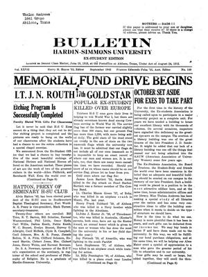 Bulletin: Hardin-Simmons University, Ex-Student Edition, September 1943