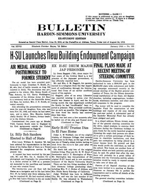 Primary view of object titled 'Bulletin: Hardin-Simmons University, Ex-Student Edition, January 1944'.