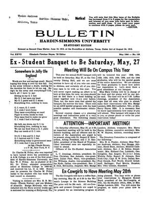 Primary view of object titled 'Bulletin: Hardin-Simmons University, Ex-Student Edition, May 1944'.