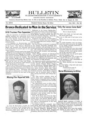 Bulletin: Hardin-Simmons University, Ex-Student Edition, July, 1944