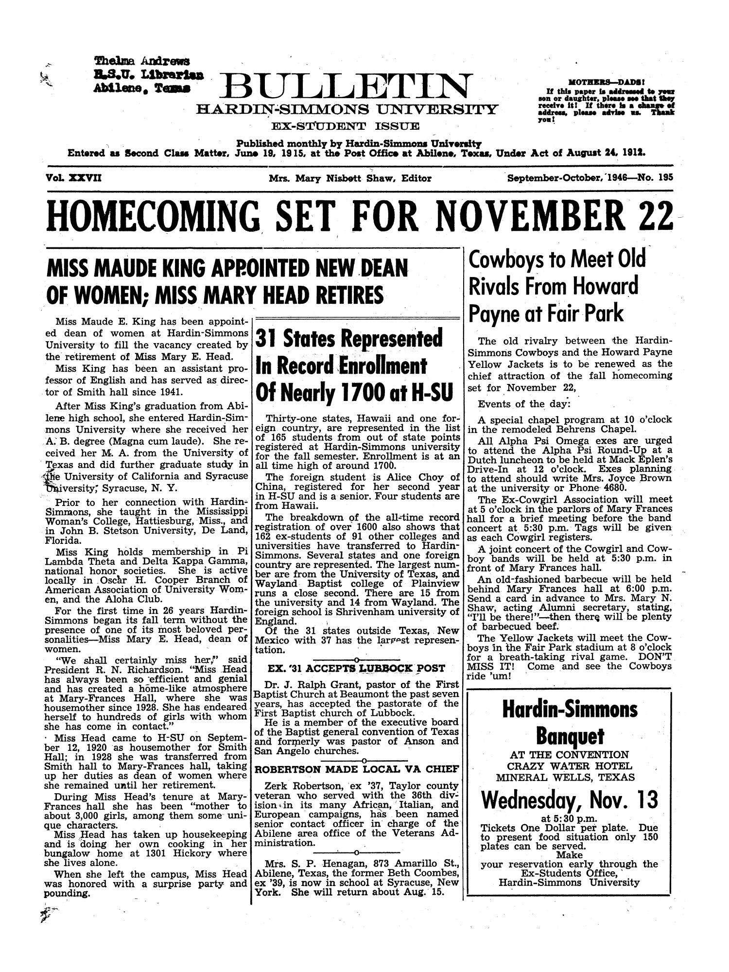 Bulletin: Hardin-Simmons University, Ex-Student Edition, September-October, 1946                                                                                                      1