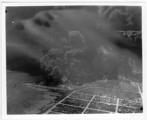 Primary view of object titled '[An aerial view near the port after the 1947 Texas City Disaster]'.