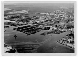 Primary view of object titled '[Aerial view of the port after the 1947 Texas City Disaster]'.