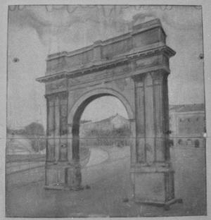 Primary view of object titled '[Painting of an Arch]'.
