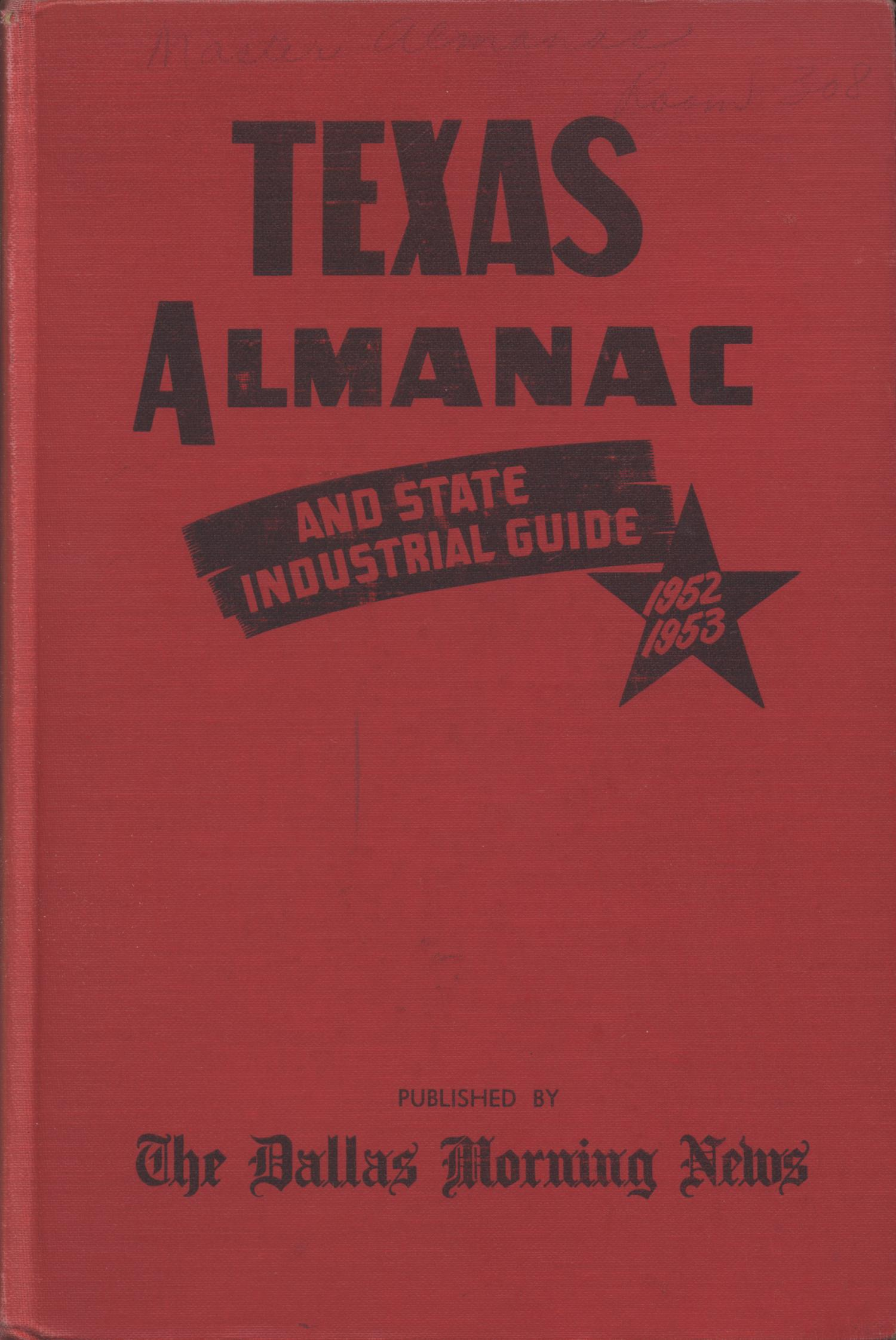 Texas Almanac, 1952-1953                                                                                                      Front Cover