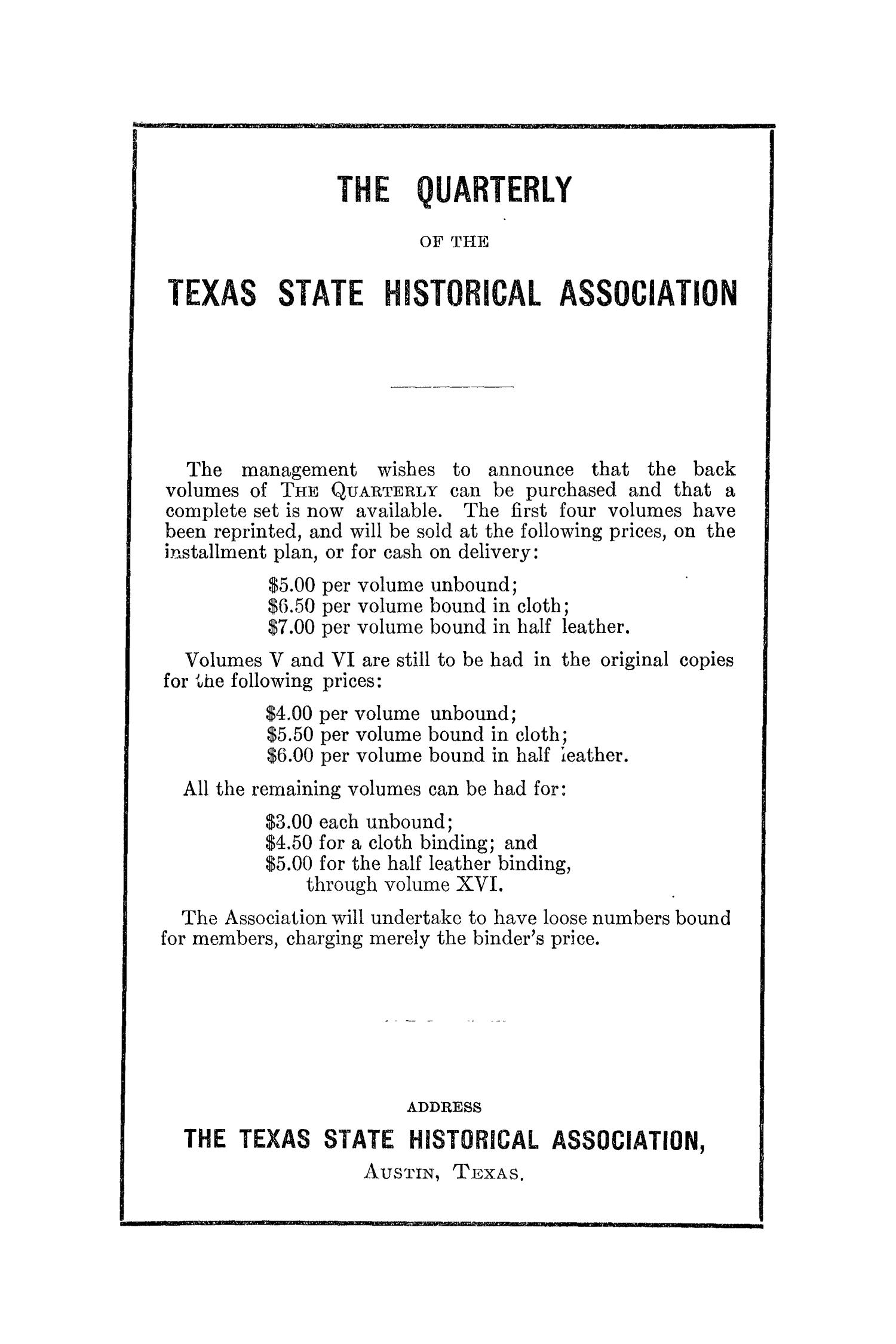 The Southwestern Historical Quarterly, Volume 29, July 1925 - April, 1926                                                                                                      None