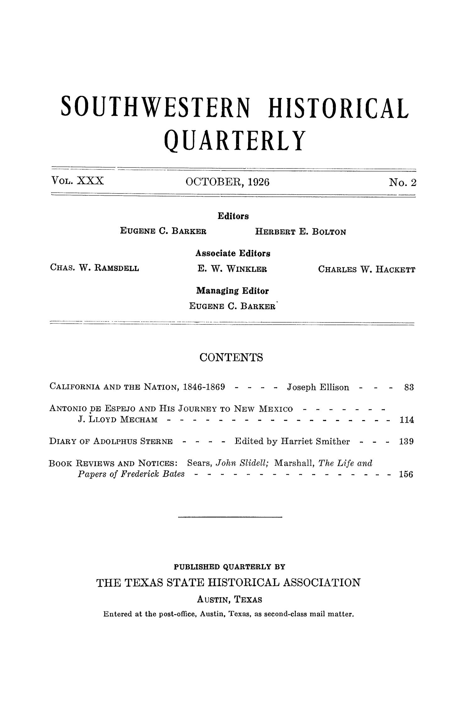 The Southwestern Historical Quarterly, Volume 30, July 1926 - April, 1927                                                                                                      None