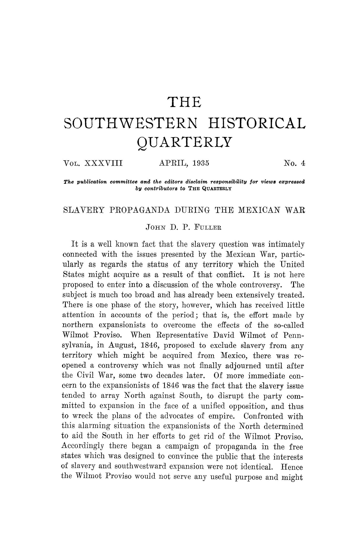 The Southwestern Historical Quarterly, Volume 38, July 1934 - April, 1935                                                                                                      235